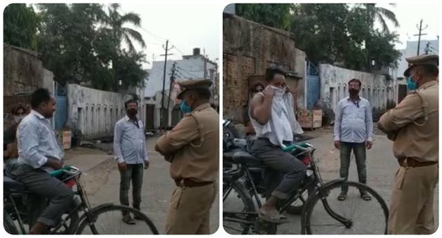 police took off shirt of a young man walking on the road without a mask
