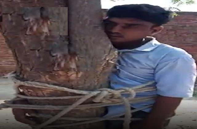villagers stunned for stealing wheat brutally thrashed the young man
