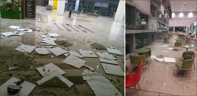 portion of ceiling of chinese made airport in islamabad collapses