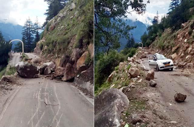 tourist vehicle came grip of landslide rider narrowly escaped
