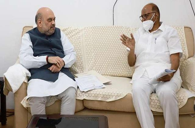 ncp chief sharad pawar met amit shah discussions on many issues