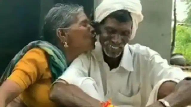 old woman kissed her husband