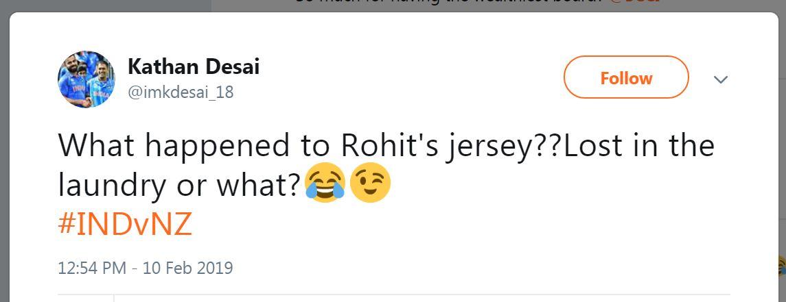 Rohit Sharma Jersey NZvIND