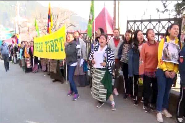 PunjabKesari, Tibetian Protest Image