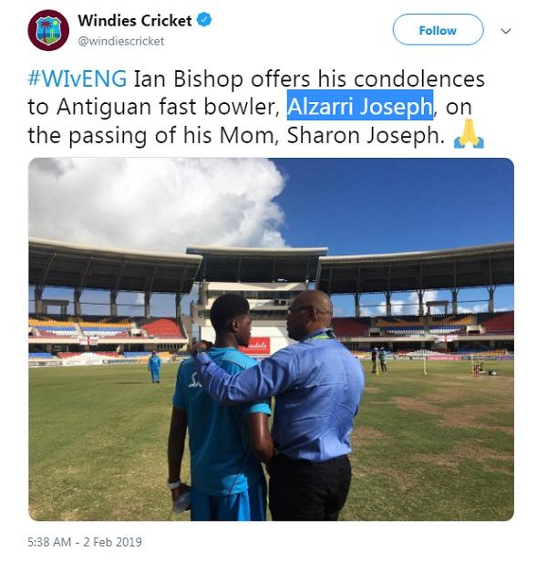 West Indies fast bowler Alzarri Joseph's mother dies