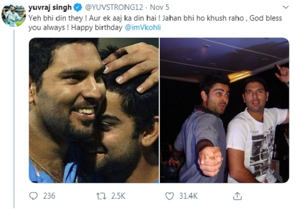 Kohli also reacts to Yuvraj's 'Those are also the days' controvertive Tweet