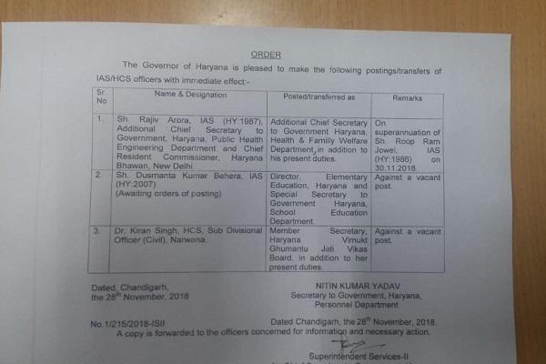 PunjabKesari, haryana government, IAS, HCS, Transfer