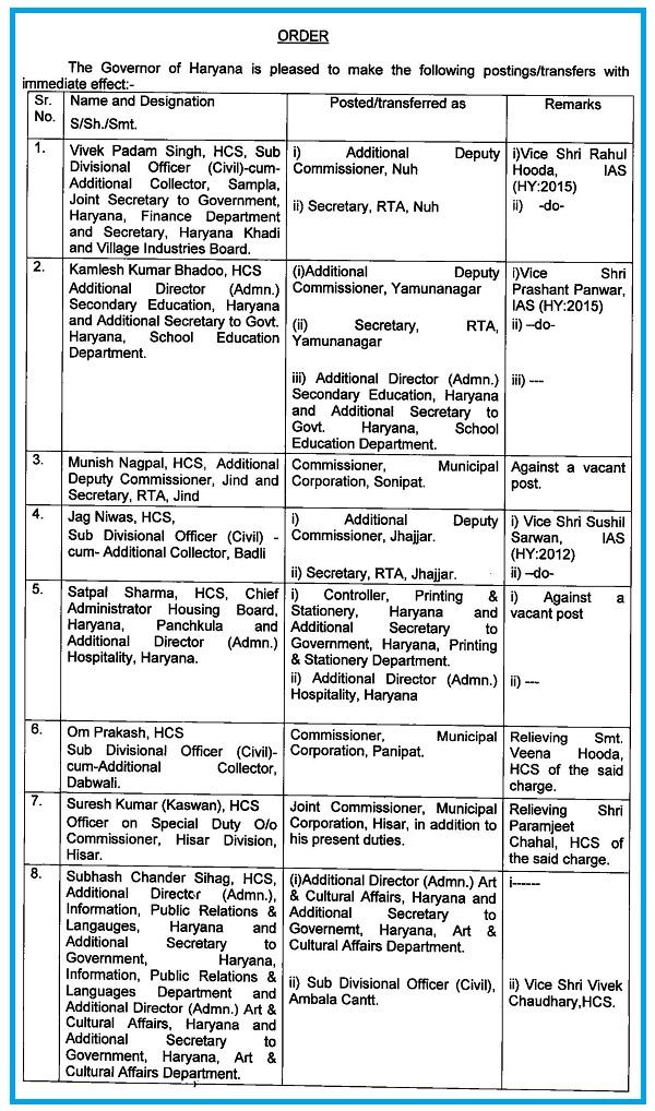 PunjabKesari,  hcs, transfer