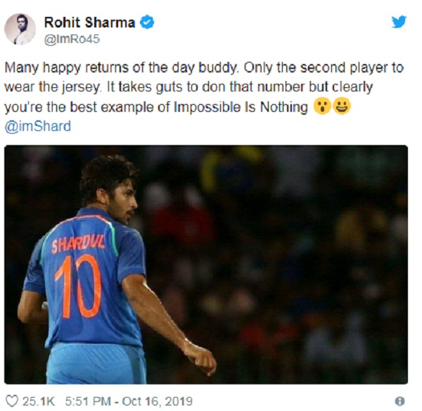 Rohit wishes birthday boy Shardul Thakur in bold style