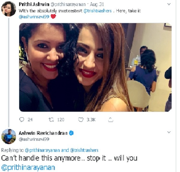 Ashwin's wife posts picture with actress Trisha; see spinner reaction