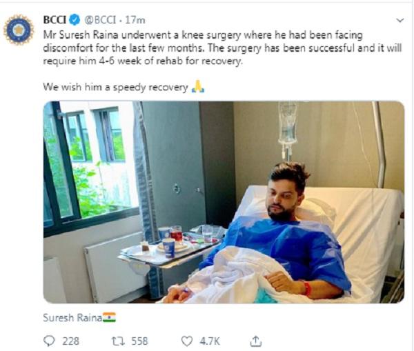 Suresh Raina undergoes knee surgery