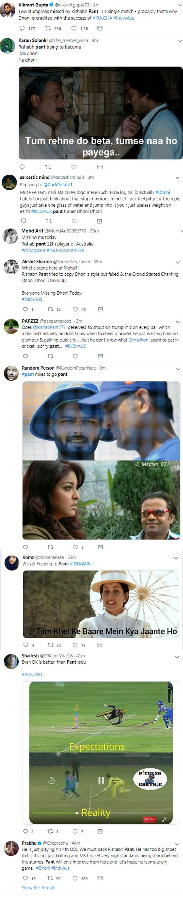Rishabh pant got trolled again for missing Stumping
