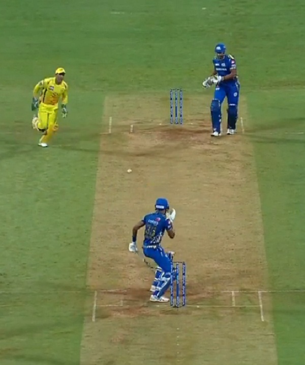 IPL 2019 : MS Dhoni on the prowl, Watch out Pandya Reaction