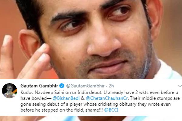 Gambhir lashes out on Bishan bedi & Chetan chauhan over Saini row