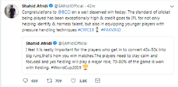 Shahid afridi Congratulation BCCI for Win during match
